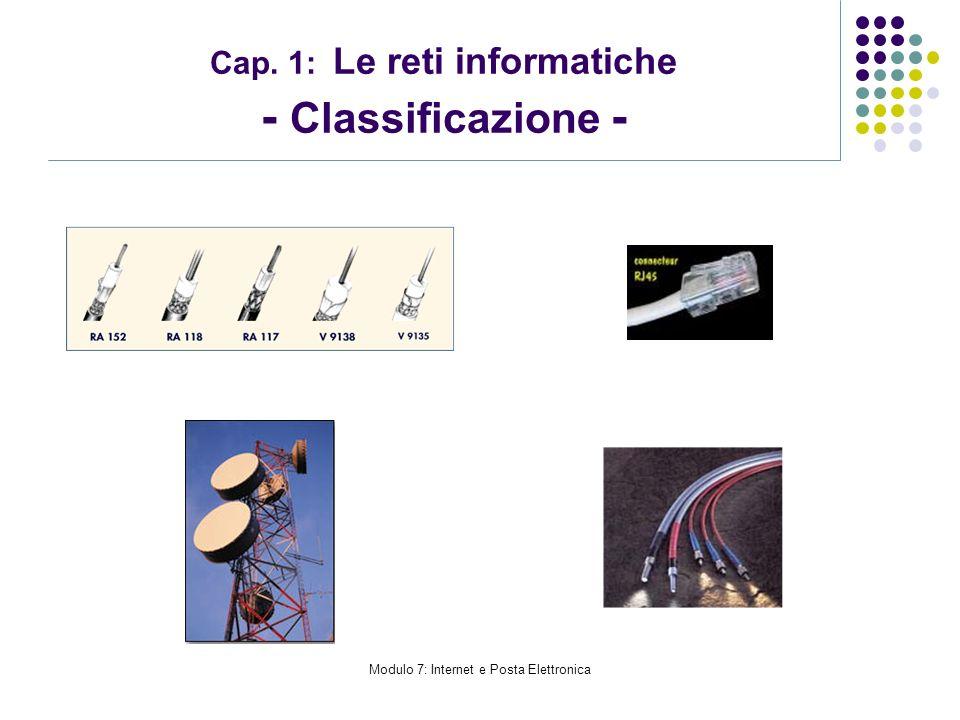 Modulo 7: Internet e Posta Elettronica Cap. 1: Le reti informatiche - Classificazione -