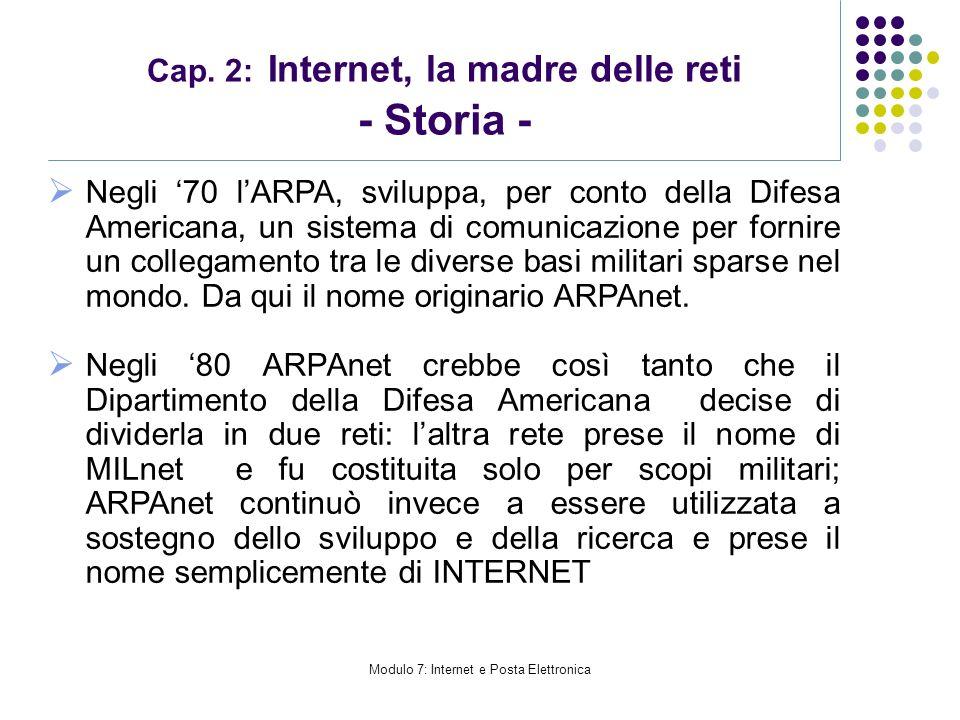 Modulo 7: Internet e Posta Elettronica Cap. 2: Internet, la madre delle reti - Storia - Negli 70 lARPA, sviluppa, per conto della Difesa Americana, un