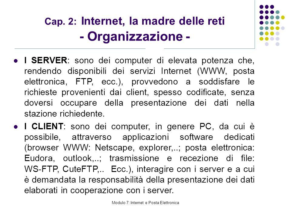 Modulo 7: Internet e Posta Elettronica Cap. 2: Internet, la madre delle reti - Organizzazione - I SERVER: sono dei computer di elevata potenza che, re