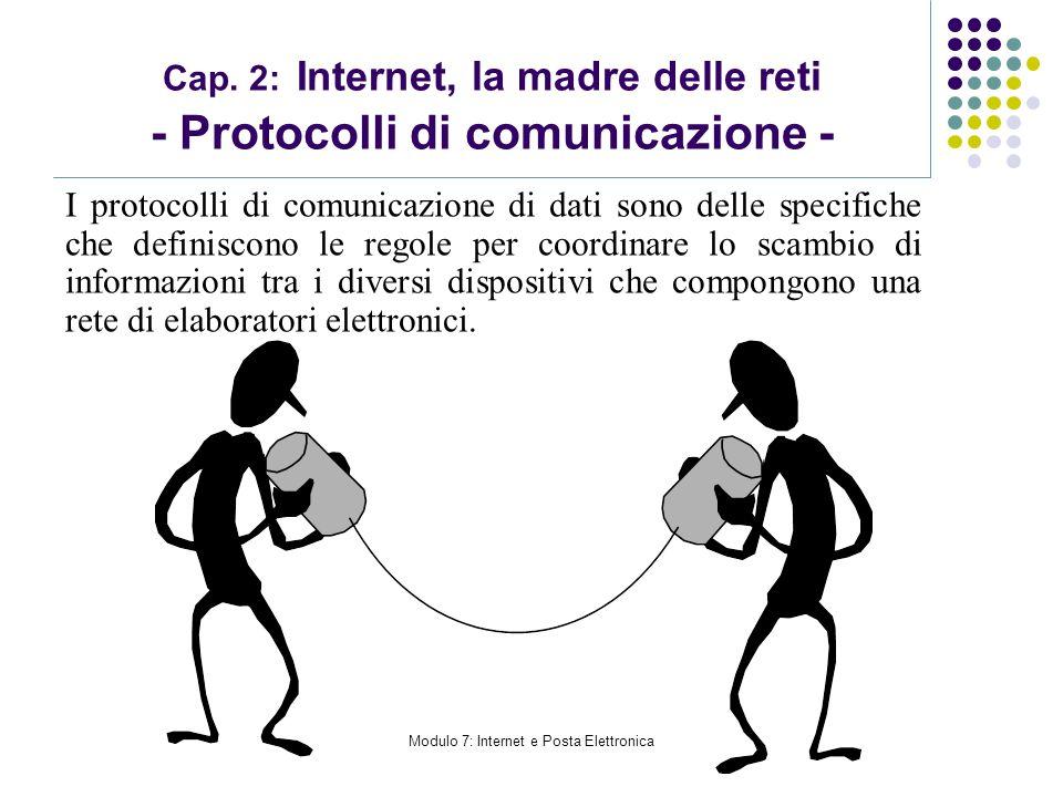 Modulo 7: Internet e Posta Elettronica Cap. 2: Internet, la madre delle reti - Protocolli di comunicazione - I protocolli di comunicazione di dati son