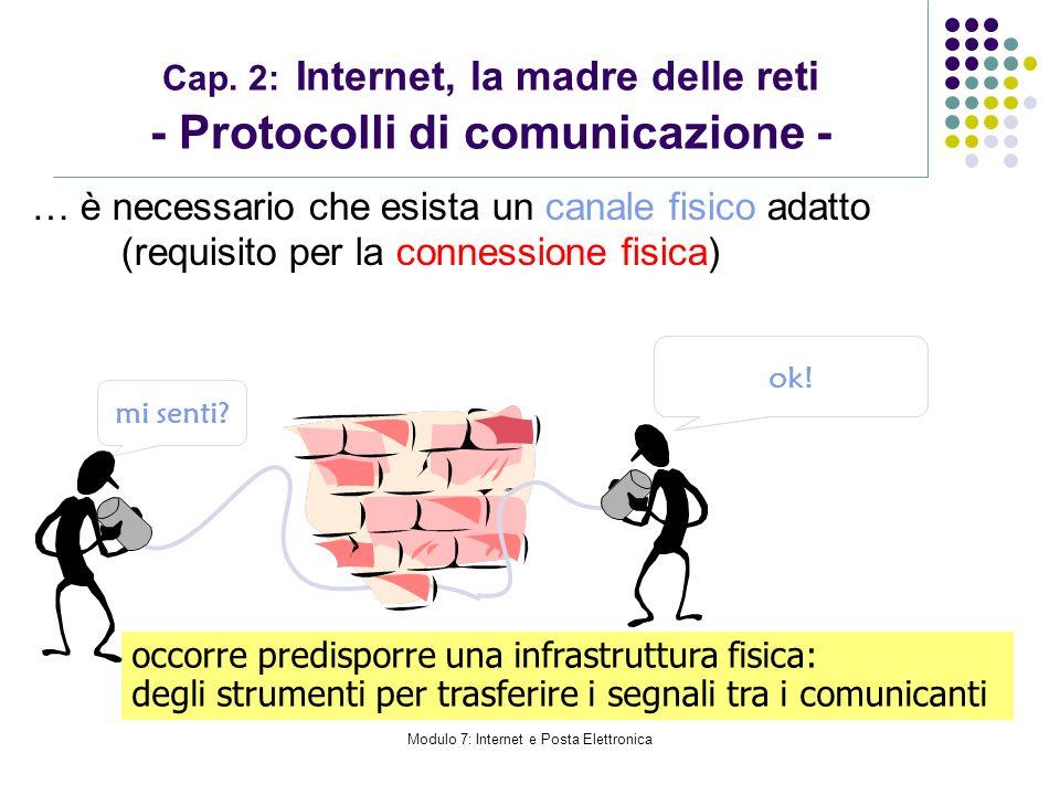Modulo 7: Internet e Posta Elettronica Cap. 2: Internet, la madre delle reti - Protocolli di comunicazione - … è necessario che esista un canale fisic