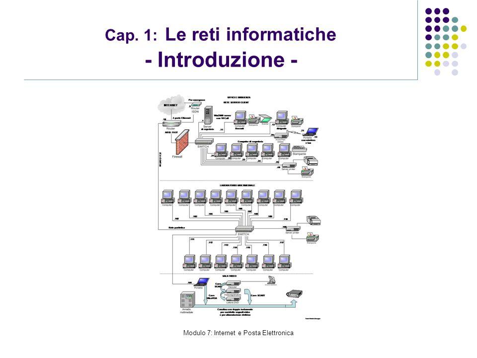 Modulo 7: Internet e Posta Elettronica Cap. 1: Le reti informatiche - Introduzione -