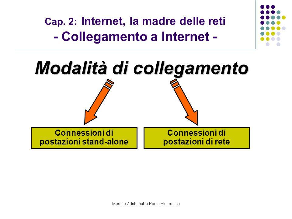 Modulo 7: Internet e Posta Elettronica Cap. 2: Internet, la madre delle reti - Collegamento a Internet - Connessioni di postazioni stand-alone Conness