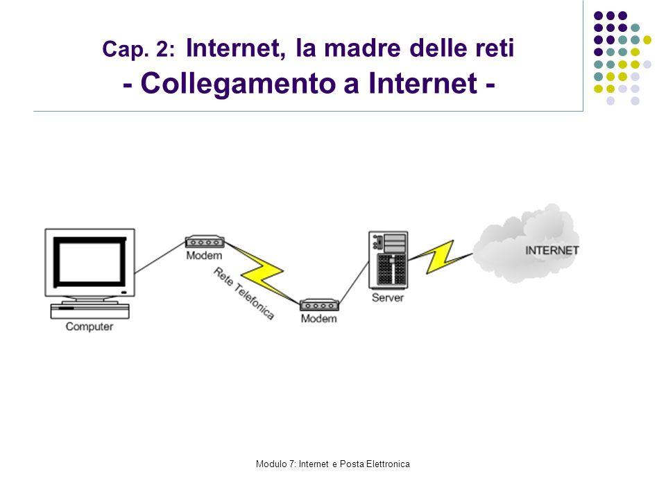 Modulo 7: Internet e Posta Elettronica Cap. 2: Internet, la madre delle reti - Collegamento a Internet -