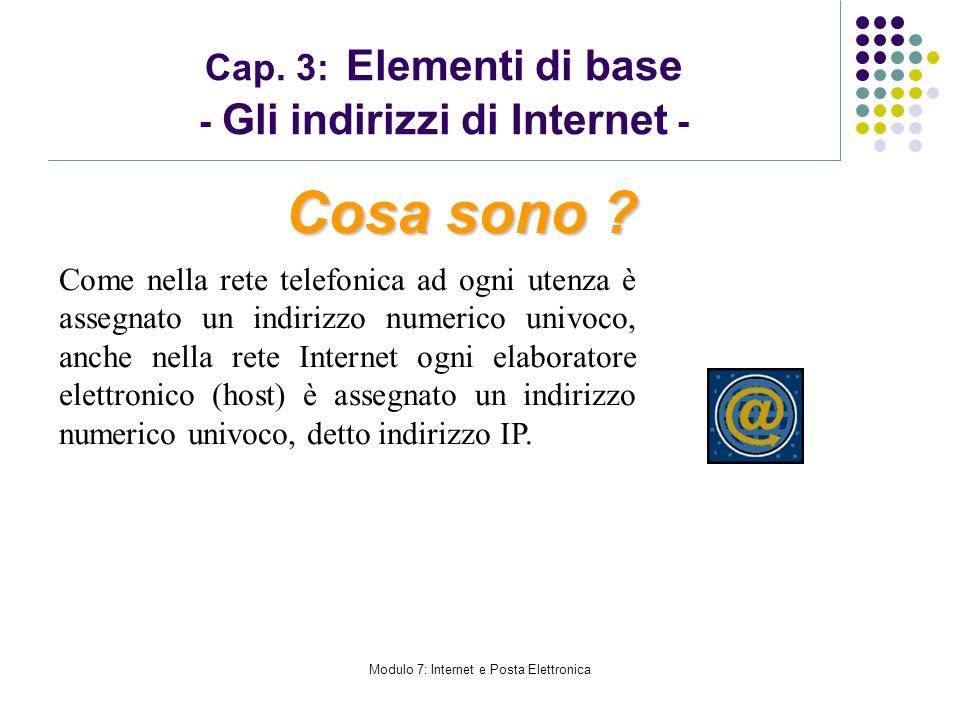 Modulo 7: Internet e Posta Elettronica Cap. 3: Elementi di base - Gli indirizzi di Internet - Come nella rete telefonica ad ogni utenza è assegnato un