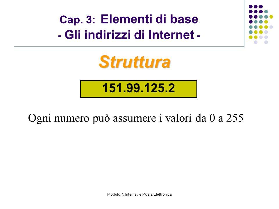 Modulo 7: Internet e Posta Elettronica Cap. 3: Elementi di base - Gli indirizzi di Internet - Ogni numero può assumere i valori da 0 a 255 Struttura 1