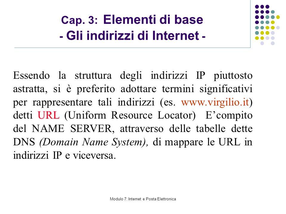 Modulo 7: Internet e Posta Elettronica Cap. 3: Elementi di base - Gli indirizzi di Internet - URL Essendo la struttura degli indirizzi IP piuttosto as
