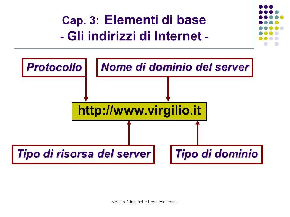 Modulo 7: Internet e Posta Elettronica Cap. 3: Elementi di base - Gli indirizzi di Internet - Protocollo http://www.virgilio.it Nome di dominio del se