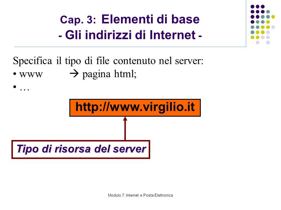 Modulo 7: Internet e Posta Elettronica Cap. 3: Elementi di base - Gli indirizzi di Internet - http://www.virgilio.it Tipo di risorsa del server Specif