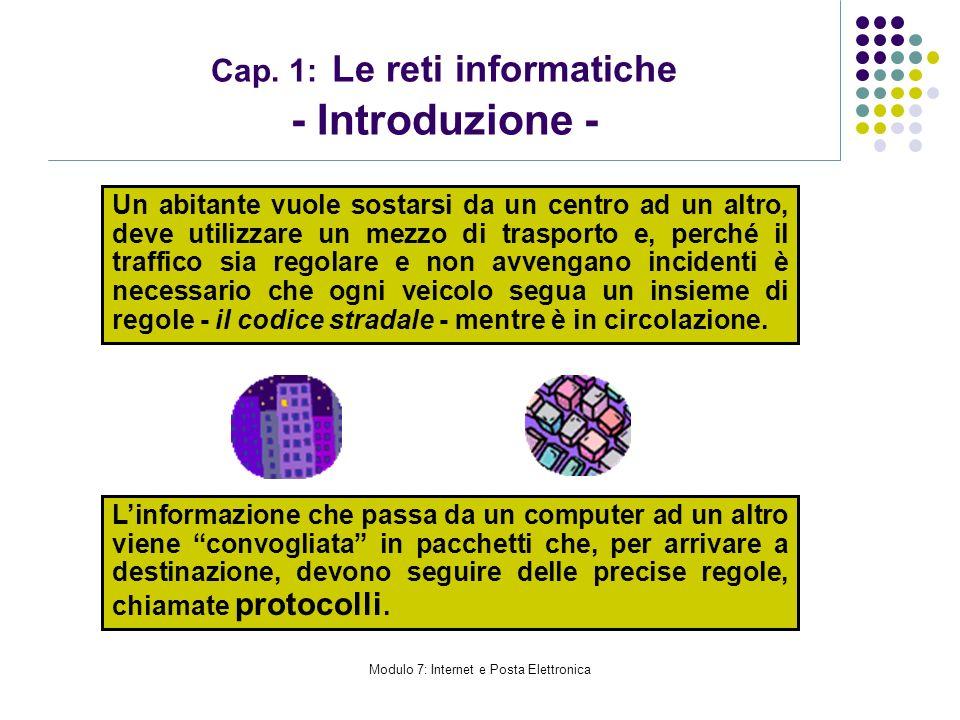 Modulo 7: Internet e Posta Elettronica Cap. 1: Le reti informatiche - Introduzione - Un abitante vuole sostarsi da un centro ad un altro, deve utilizz