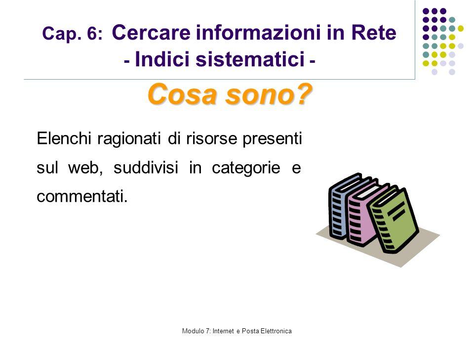 Modulo 7: Internet e Posta Elettronica Cap. 6: Cercare informazioni in Rete - Indici sistematici - Elenchi ragionati di risorse presenti sul web, sudd
