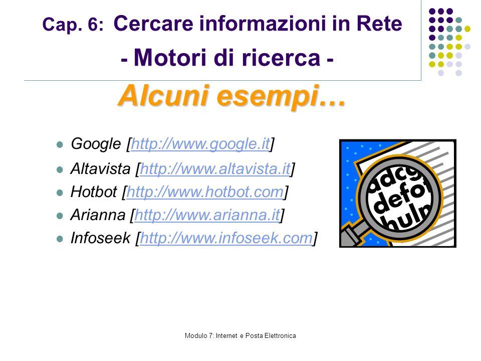 Modulo 7: Internet e Posta Elettronica Cap. 6: Cercare informazioni in Rete - Motori di ricerca - Google [http://www.google.it]http://www.google.it Al