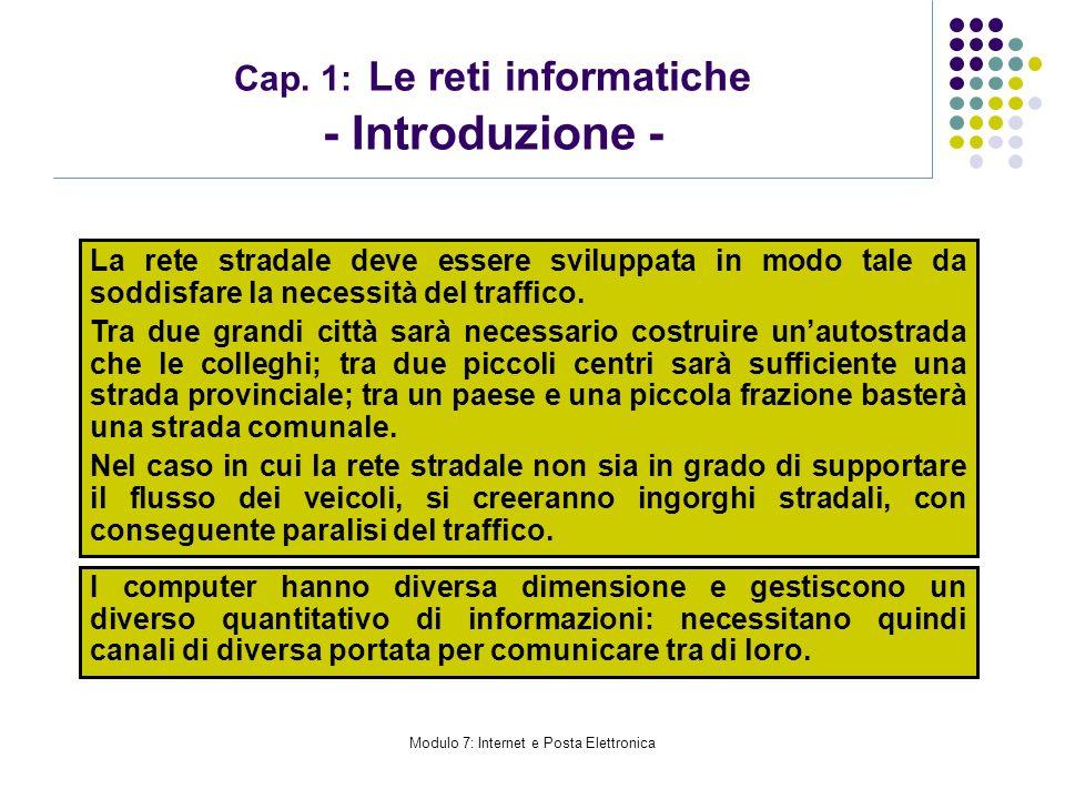 Modulo 7: Internet e Posta Elettronica Cap. 1: Le reti informatiche - Introduzione - La rete stradale deve essere sviluppata in modo tale da soddisfar