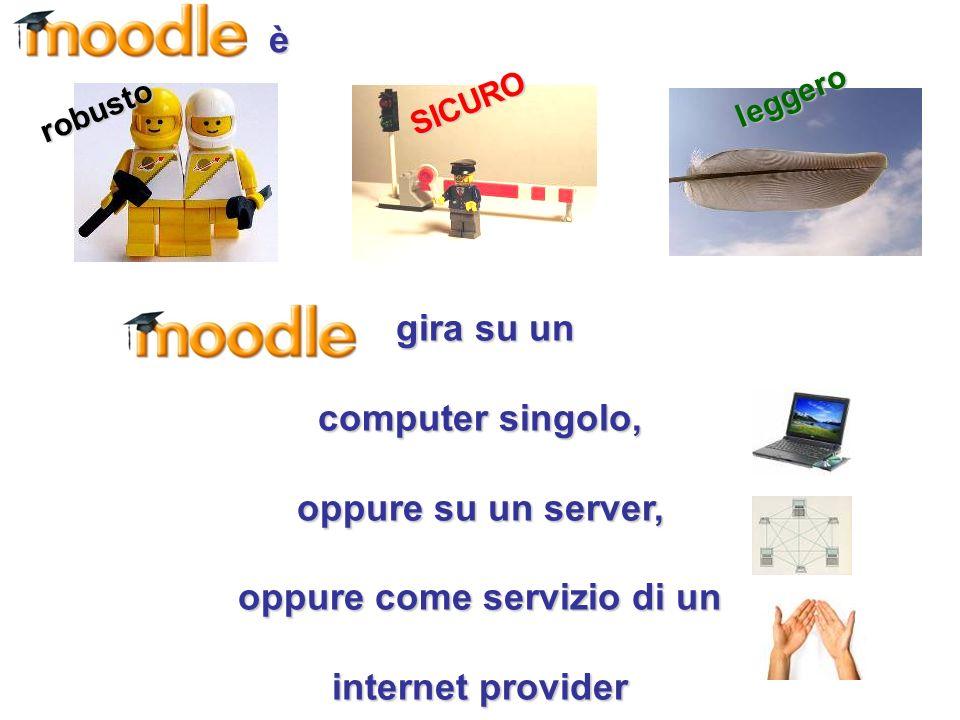 è gira su un gira su un computer singolo, oppure su un server, oppure come servizio di un internet provider robusto SICURO leggero
