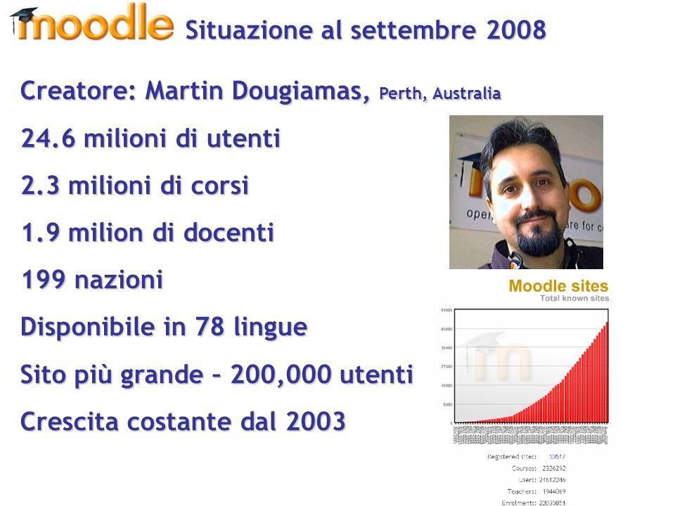 Creatore: Martin Dougiamas, Perth, Australia 24.6 milioni di utenti 2.3 milioni di corsi 1.9 milion di docenti 199 nazioni Disponibile in 78 lingue Sito più grande – 200,000 utenti Crescita costante dal 2003 Situazione al settembre 2008 Situazione al settembre 2008