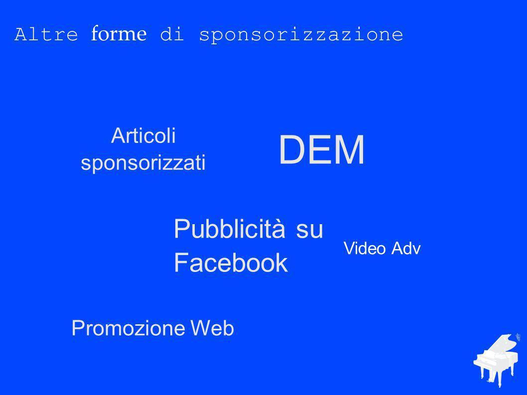 Altre forme di sponsorizzazione Articoli sponsorizzati DEM Pubblicità su Facebook Video Adv Promozione Web