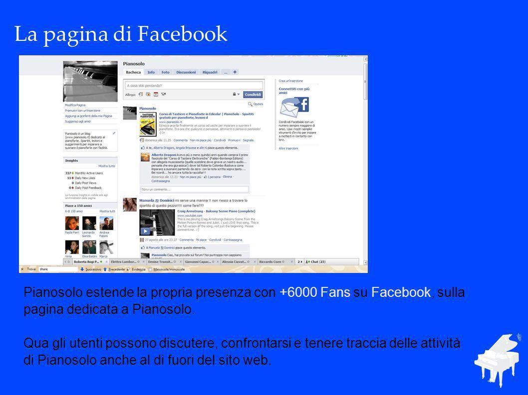 La pagina di Facebook Pianosolo estende la propria presenza con +6000 Fans su Facebook, sulla pagina dedicata a Pianosolo. Qua gli utenti possono disc
