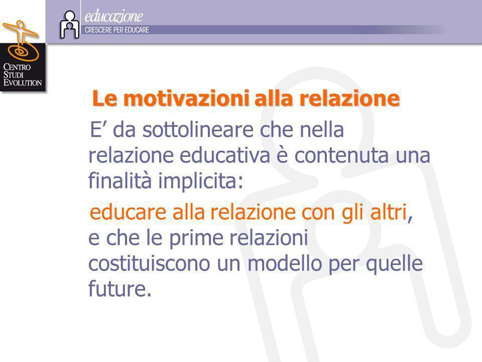 L e motivazioni alla relazione E da sottolineare che nella relazione educativa è contenuta una finalità implicita: educare alla relazione con gli altri, e che le prime relazioni costituiscono un modello per quelle future.