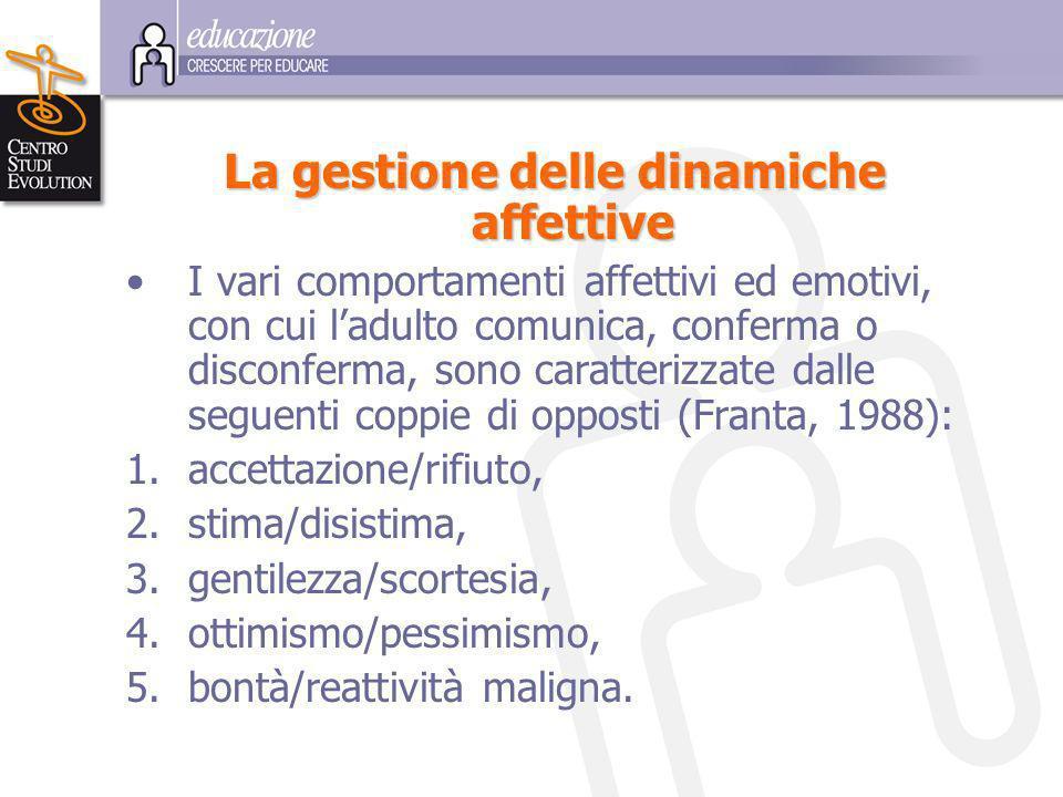 L a gestione delle dinamiche affettive I vari comportamenti affettivi ed emotivi, con cui ladulto comunica, conferma o disconferma, sono caratterizzate dalle seguenti coppie di opposti (Franta, 1988): 1.accettazione/rifiuto, 2.stima/disistima, 3.gentilezza/scortesia, 4.ottimismo/pessimismo, 5.bontà/reattività maligna.