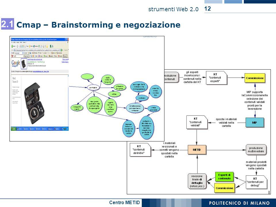 Centro METID strumenti Web 2.0 12 Cmap – Brainstorming e negoziazione 2.1