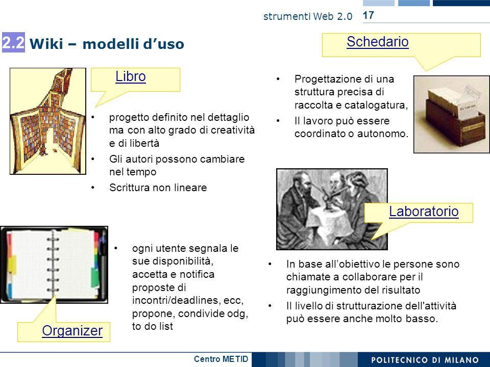 Centro METID strumenti Web 2.0 17 Wiki – modelli duso Libro Schedario Organizer In base allobiettivo le persone sono chiamate a collaborare per il rag