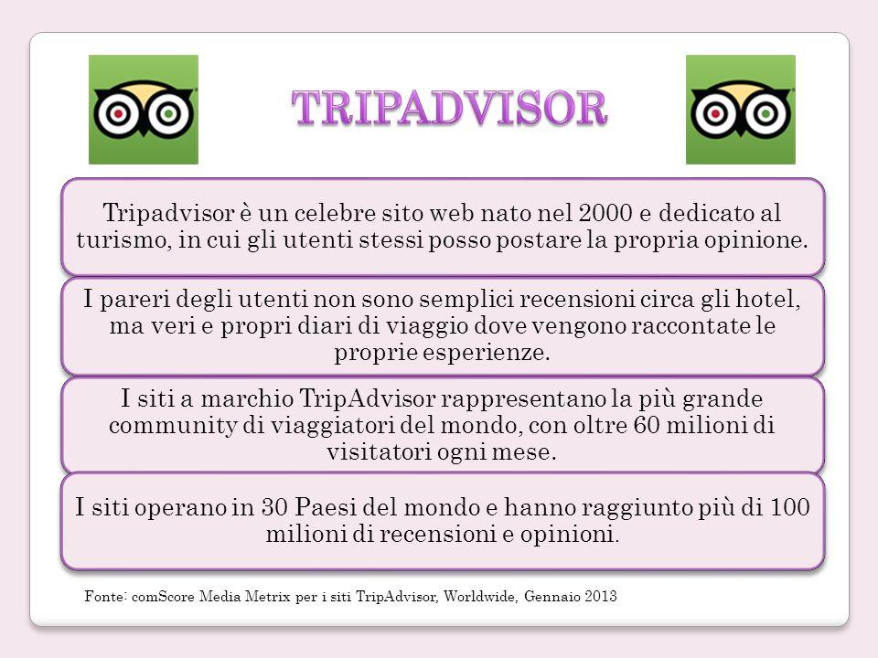 Tripadvisor è un celebre sito web nato nel 2000 e dedicato al turismo, in cui gli utenti stessi posso postare la propria opinione.