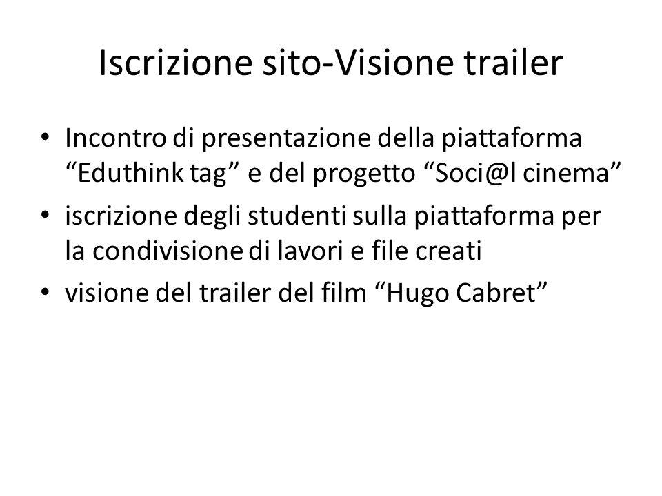 Iscrizione sito-Visione trailer Incontro di presentazione della piattaforma Eduthink tag e del progetto Soci@l cinema iscrizione degli studenti sulla