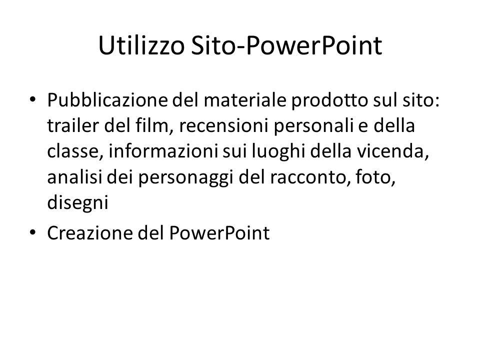Utilizzo Sito-PowerPoint Pubblicazione del materiale prodotto sul sito: trailer del film, recensioni personali e della classe, informazioni sui luoghi