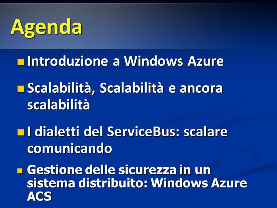 Introduzione a Windows Azure Introduzione a Windows Azure Scalabilità, Scalabilità e ancora scalabilità Scalabilità, Scalabilità e ancora scalabilità I dialetti del ServiceBus: scalare comunicando I dialetti del ServiceBus: scalare comunicando Gestione delle sicurezza in un sistema distribuito: Windows Azure ACS Gestione delle sicurezza in un sistema distribuito: Windows Azure ACS Agenda