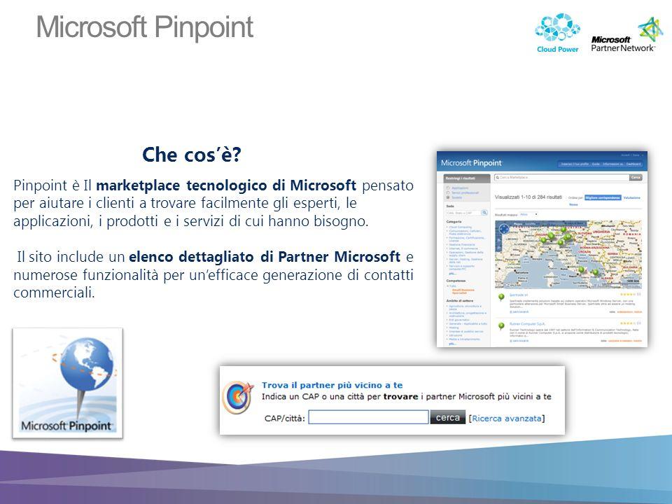 Pinpoint è Il marketplace tecnologico di Microsoft pensato per aiutare i clienti a trovare facilmente gli esperti, le applicazioni, i prodotti e i servizi di cui hanno bisogno.