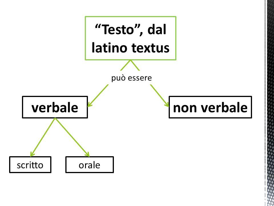 Testo, dal latino textus verbalenon verbale scrittoorale può essere