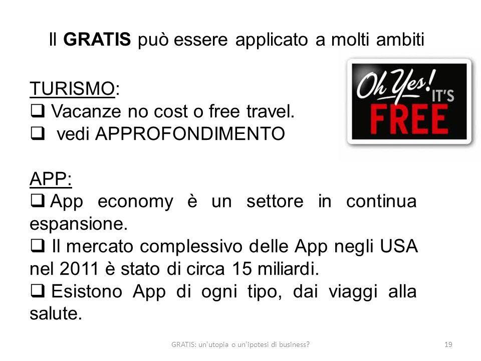 GRATIS: un'utopia o un'ipotesi di business?19 Il GRATIS può essere applicato a molti ambiti TURISMO: Vacanze no cost o free travel. vedi APPROFONDIMEN