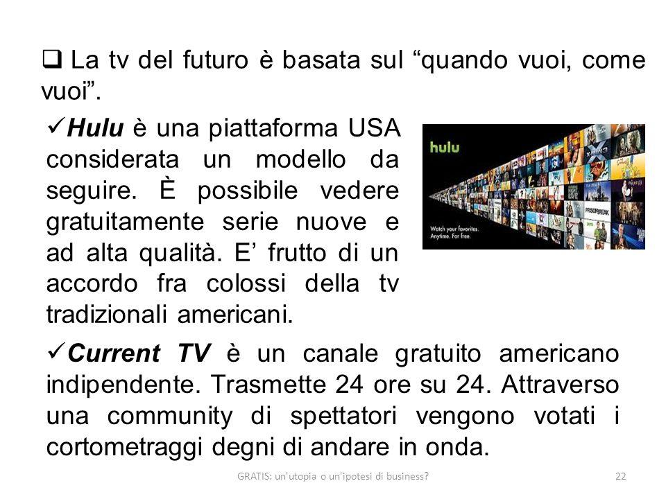 GRATIS: un'utopia o un'ipotesi di business?22 La tv del futuro è basata sul quando vuoi, come vuoi. Hulu è una piattaforma USA considerata un modello