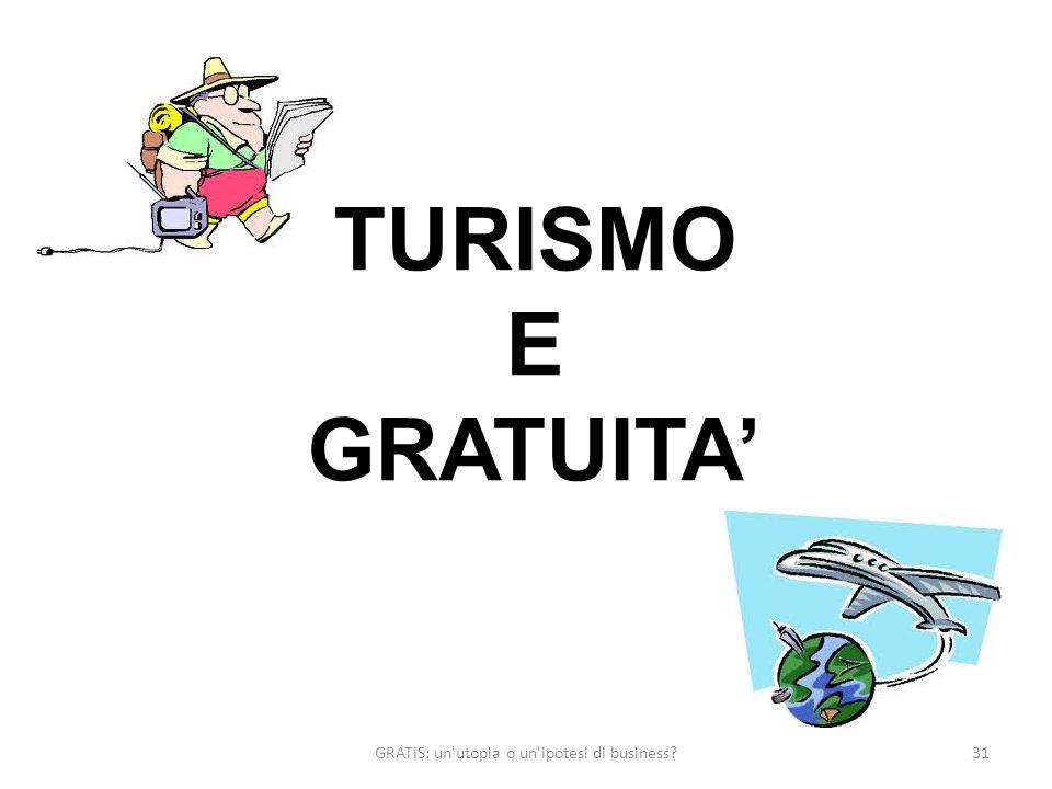 GRATIS: un utopia o un ipotesi di business 31 TURISMO E GRATUITA