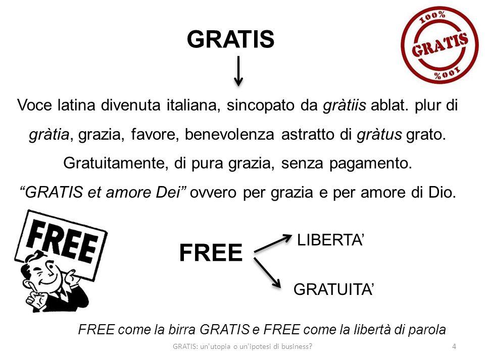 4 GRATIS Voce latina divenuta italiana, sincopato da gràtiis ablat. plur di gràtia, grazia, favore, benevolenza astratto di gràtus grato. Gratuitament