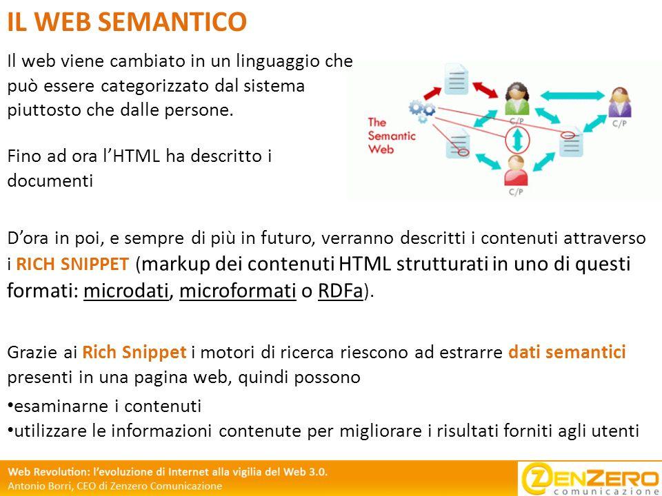 IL WEB SEMANTICO Fino ad ora lHTML ha descritto i documenti Dora in poi, e sempre di più in futuro, verranno descritti i contenuti attraverso i RICH S