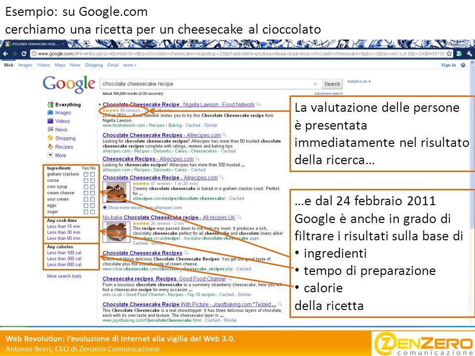 La valutazione delle persone è presentata immediatamente nel risultato della ricerca… …e dal 24 febbraio 2011 Google è anche in grado di filtrare i ri