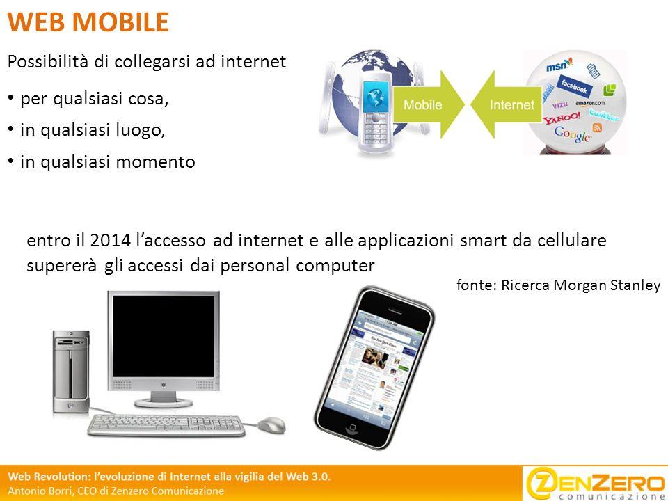 Possibilità di collegarsi ad internet WEB MOBILE per qualsiasi cosa, in qualsiasi luogo, in qualsiasi momento entro il 2014 laccesso ad internet e all
