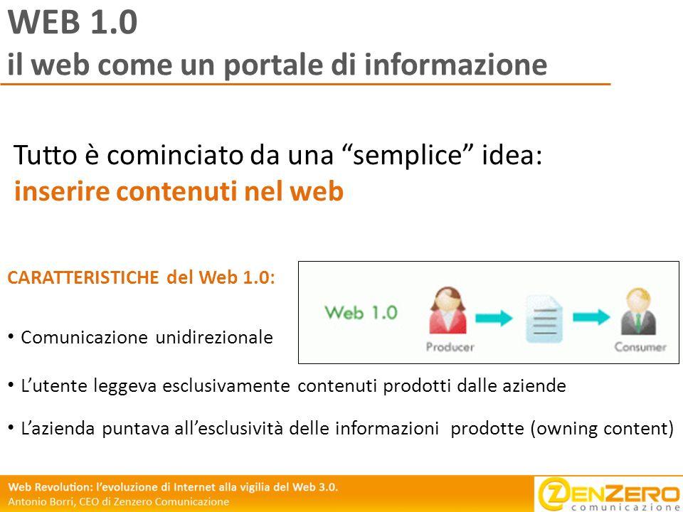 WEB 1.0 il web come un portale di informazione Tutto è cominciato da una semplice idea: inserire contenuti nel web Comunicazione unidirezionale Lutent