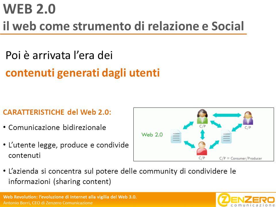 WEB 2.0 il web come strumento di relazione e Social Poi è arrivata lera dei contenuti generati dagli utenti Comunicazione bidirezionale Lutente legge,