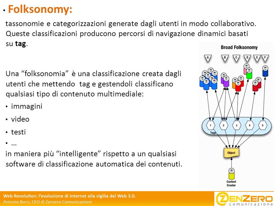 Folksonomy: tassonomie e categorizzazioni generate dagli utenti in modo collaborativo. Queste classificazioni producono percorsi di navigazione dinami