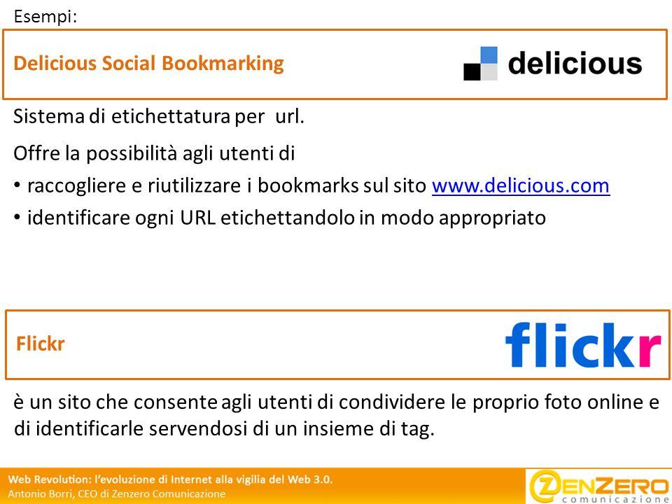 Esempi: Delicious Social Bookmarking Offre la possibilità agli utenti di raccogliere e riutilizzare i bookmarks sul sito www.delicious.comwww.deliciou