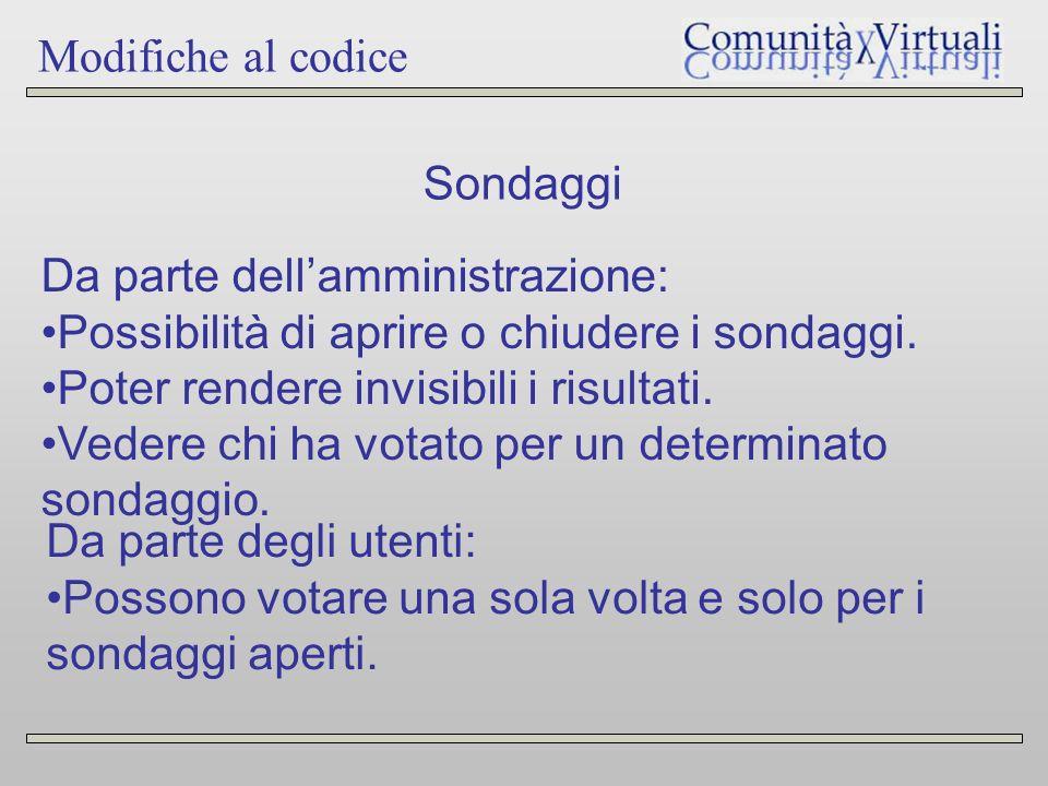 Modifiche al codice Sondaggi Da parte dellamministrazione: Possibilità di aprire o chiudere i sondaggi.