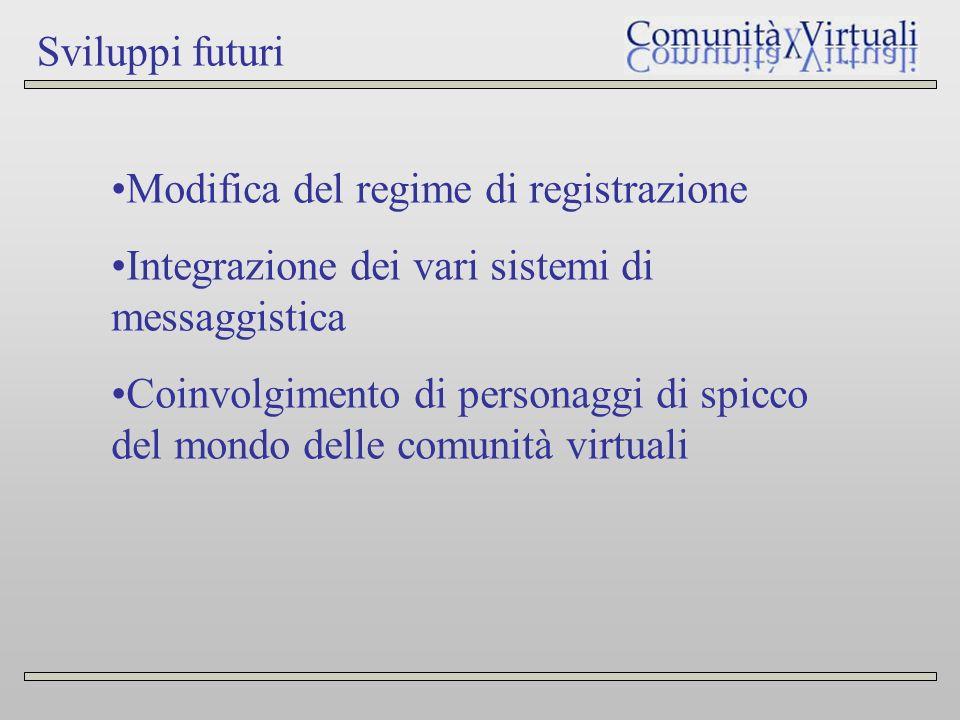 Sviluppi futuri Modifica del regime di registrazione Integrazione dei vari sistemi di messaggistica Coinvolgimento di personaggi di spicco del mondo delle comunità virtuali