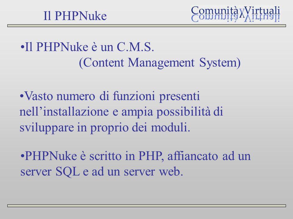 Il PHPNuke Il PHPNuke è un C.M.S.