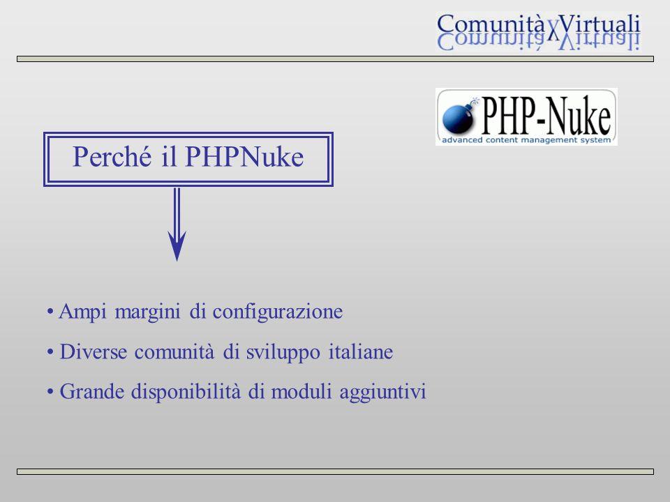 Perché il PHPNuke Ampi margini di configurazione Diverse comunità di sviluppo italiane Grande disponibilità di moduli aggiuntivi