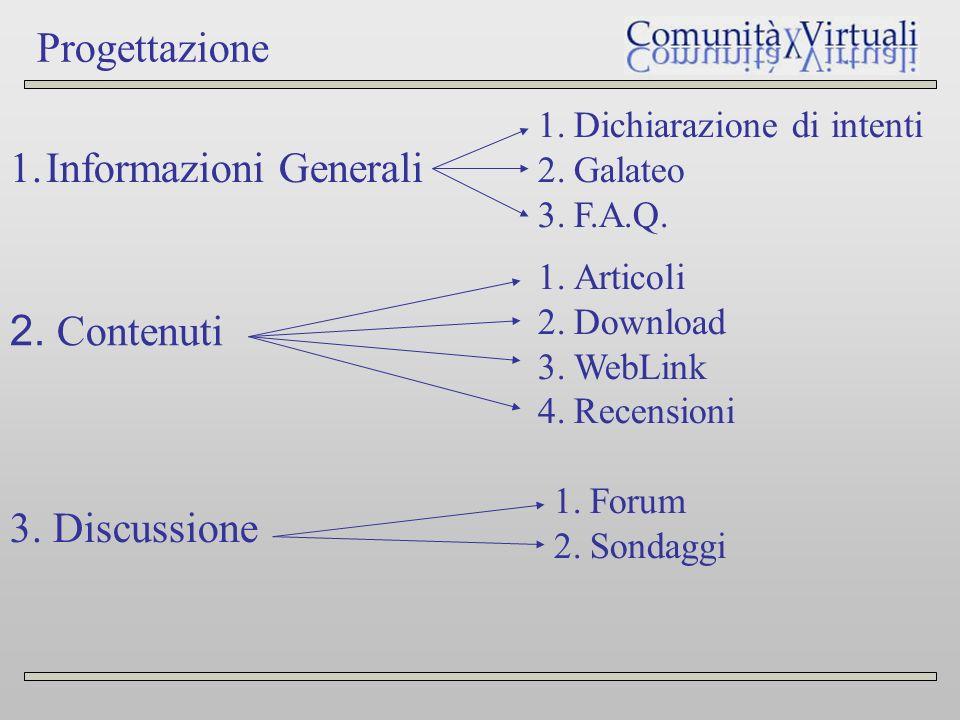 Progettazione 1.Informazioni Generali 1.Dichiarazione di intenti 2.Galateo 3.F.A.Q.