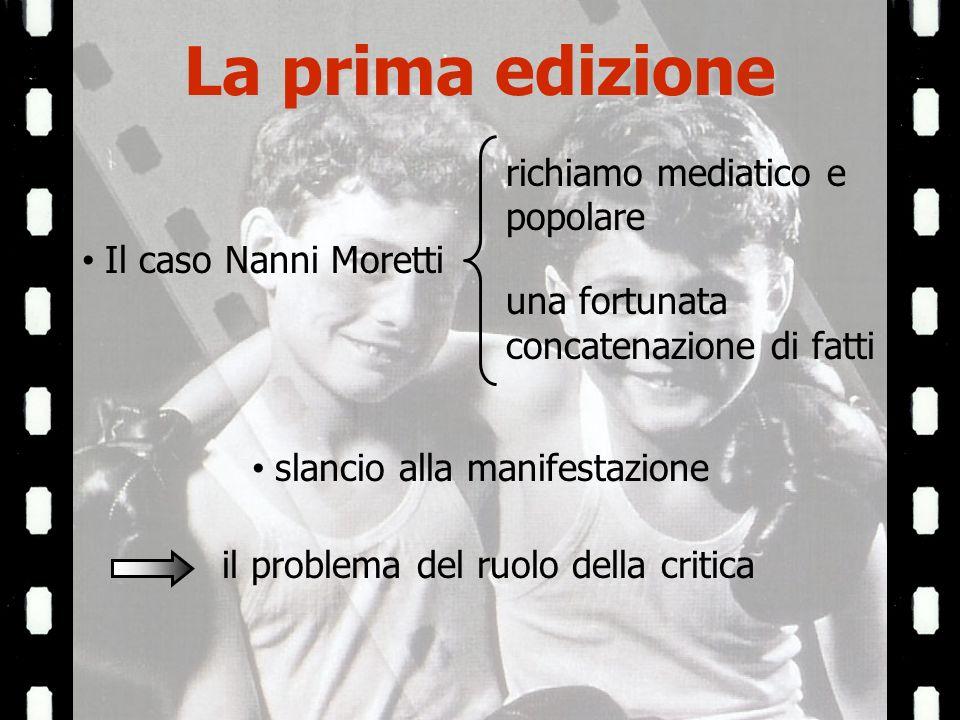 La prima edizione Il caso Nanni Moretti richiamo mediatico e popolare una fortunata concatenazione di fatti slancio alla manifestazione il problema del ruolo della critica