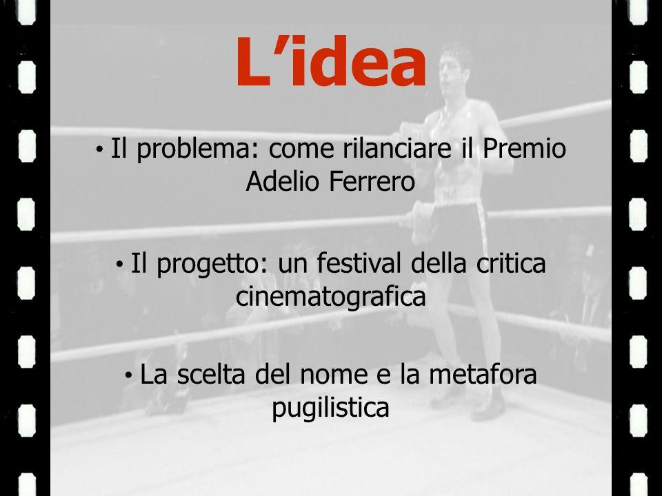 Il problema: come rilanciare il Premio Adelio Ferrero Il progetto: un festival della critica cinematografica La scelta del nome e la metafora pugilistica Lidea
