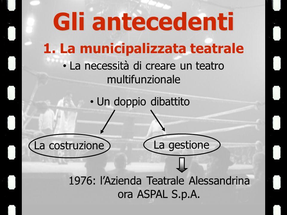 1. La municipalizzata teatrale La necessità di creare un teatro multifunzionale Un doppio dibattito La costruzione La gestione 1976: lAzienda Teatrale